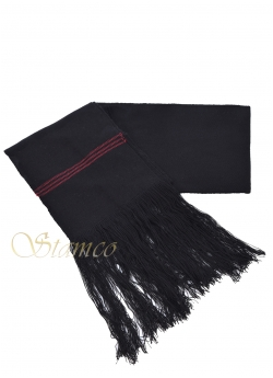 Woven Wool Black Belt with Fringes